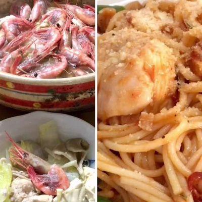 エビで鍋→雑炊→パスタの記事に添付されている画像